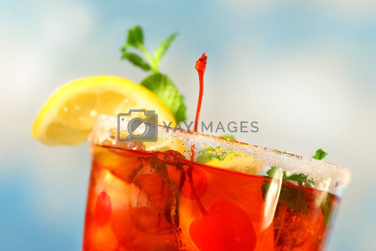 Closeup of tropical drink by Sandralise
