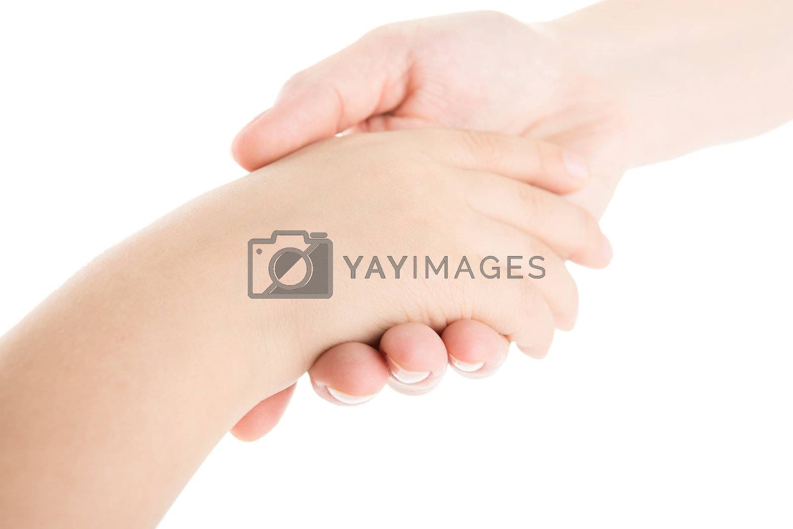 Mother's hand holds a hand of the child