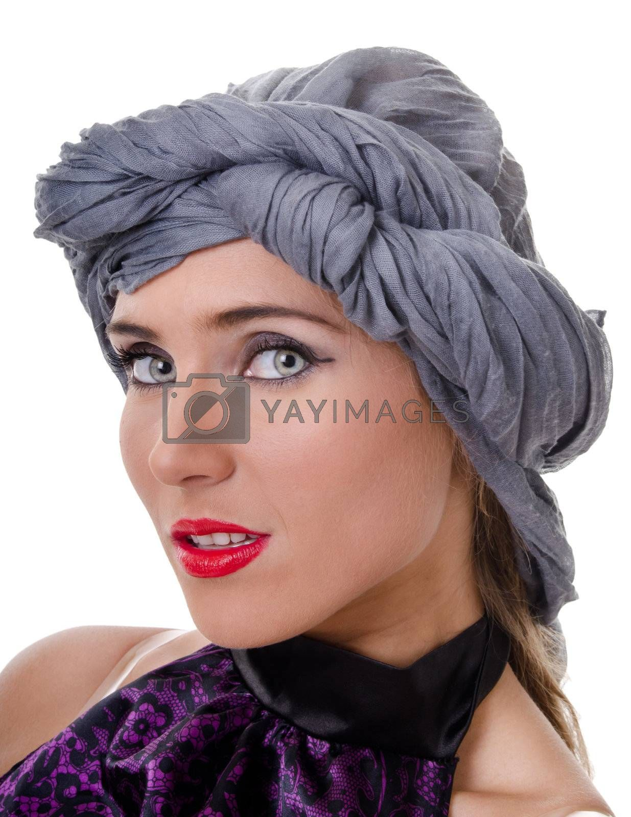 Portrait of glamorous woman in a turban