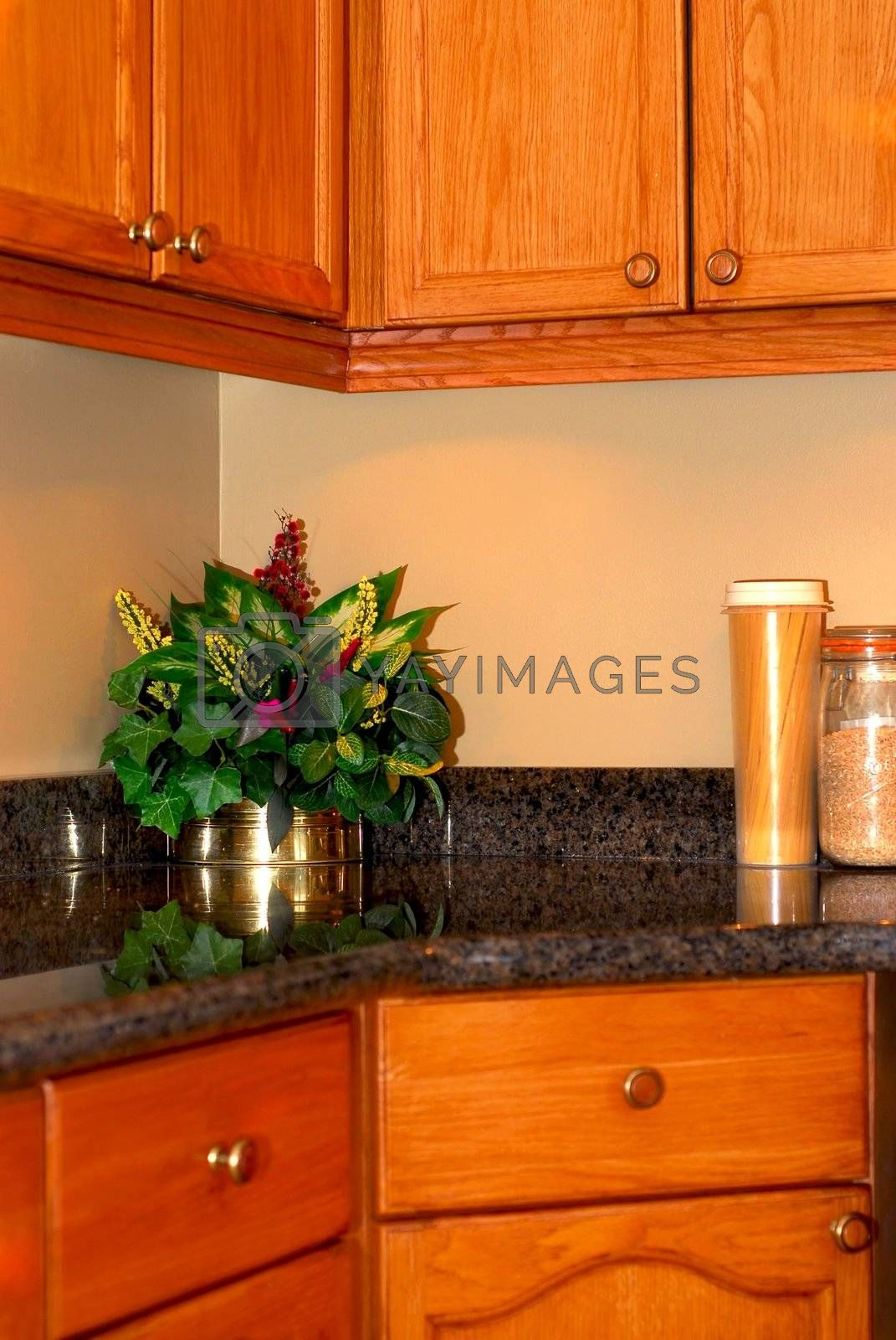Modern kitchen interior with natural granite countertop and oak cabinets