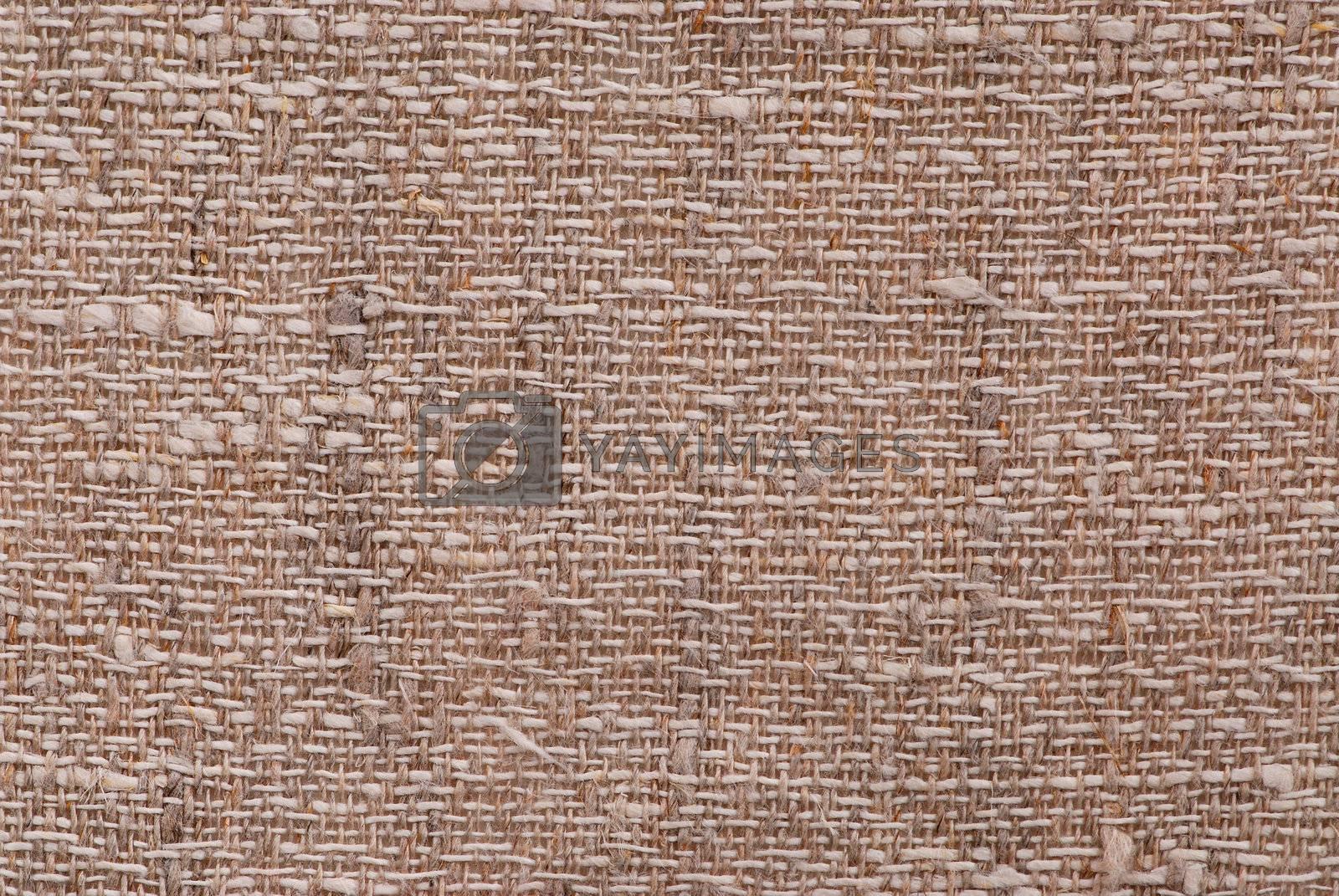 Closeup of a linen fabric texture of natural color