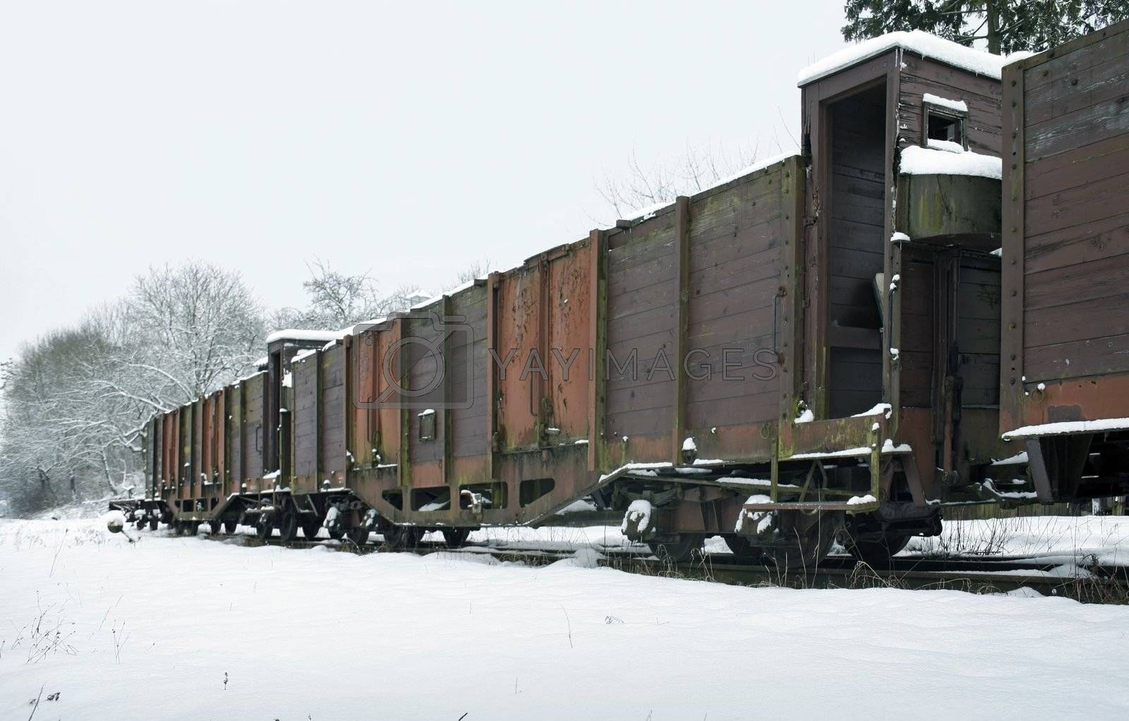 outdoor shot of old railway cars in Southern Germany at winter time