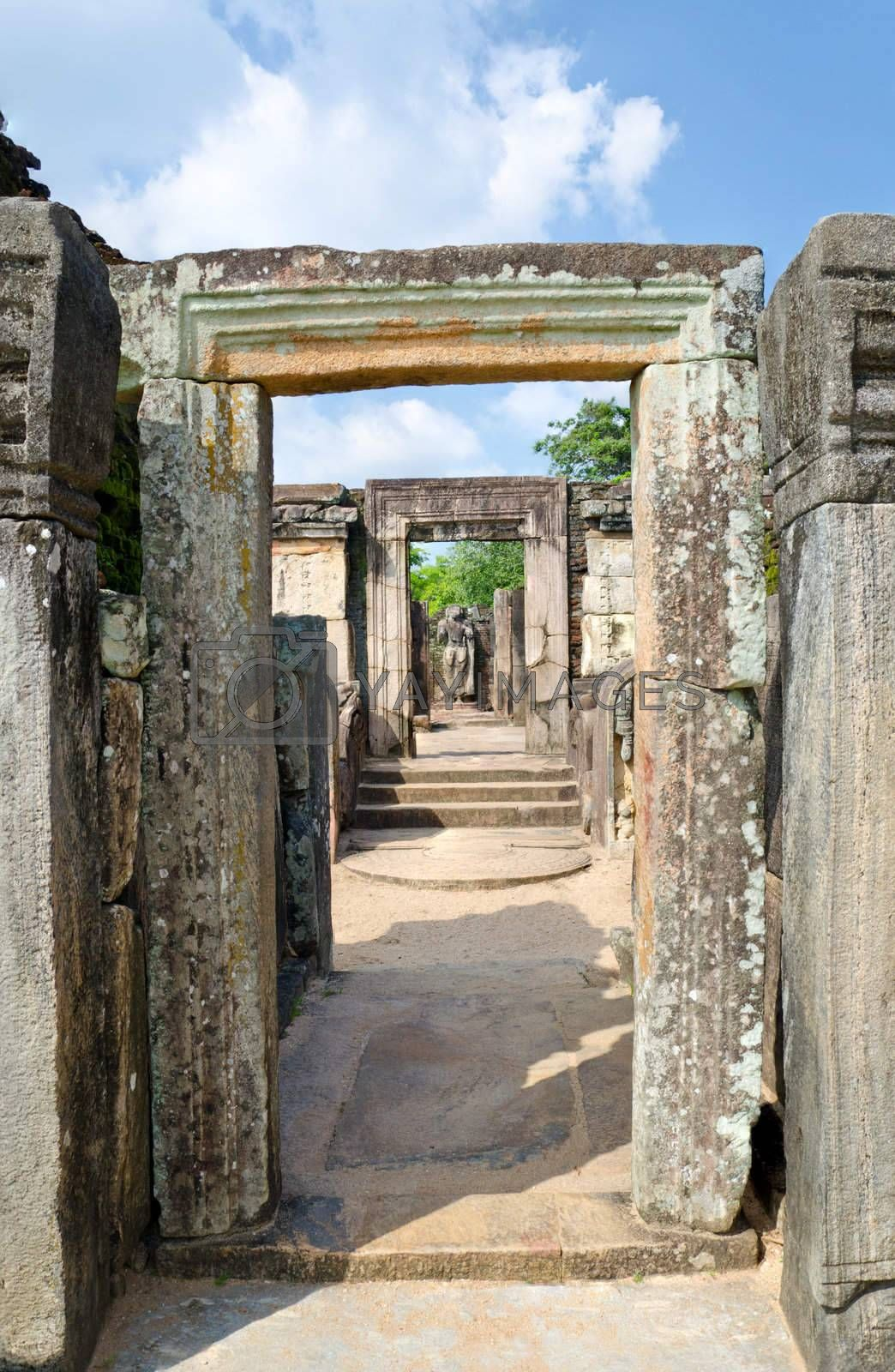 Ruins at Polonnaruwa - vatadage temple, UNESCO World Heritage Site in Sri Lanka