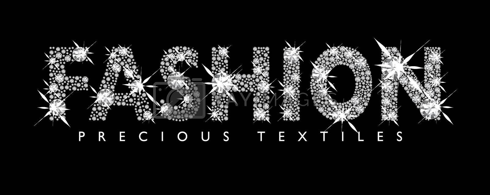 White diamond fashion text with black background