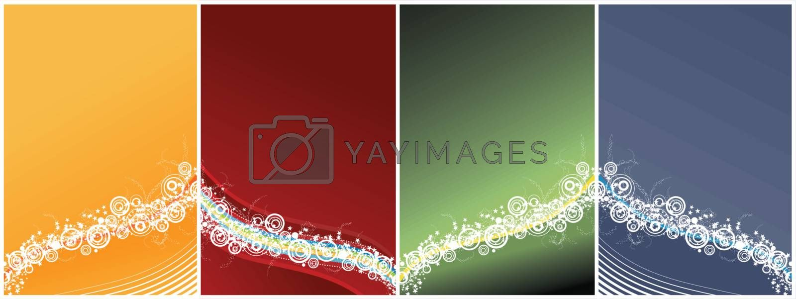 Vector illustration of a celebrative backgrounds with waved lined art, modern circles and a myriad of stars. Four different versions. Easily editable.