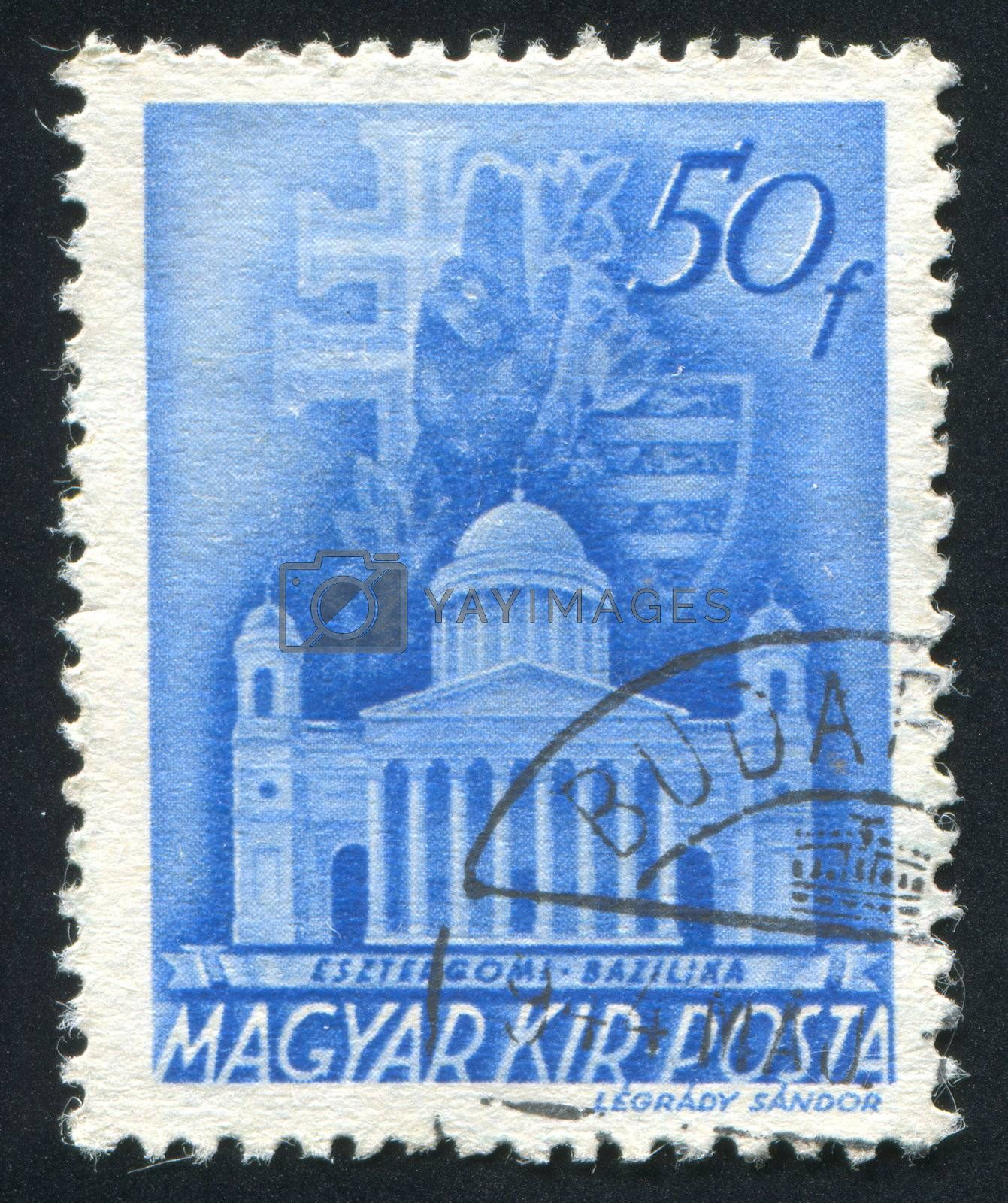 HUNGARY - CIRCA 1938: stamp printed by Hungary, shows Cathedral, Esztergom, circa 1938
