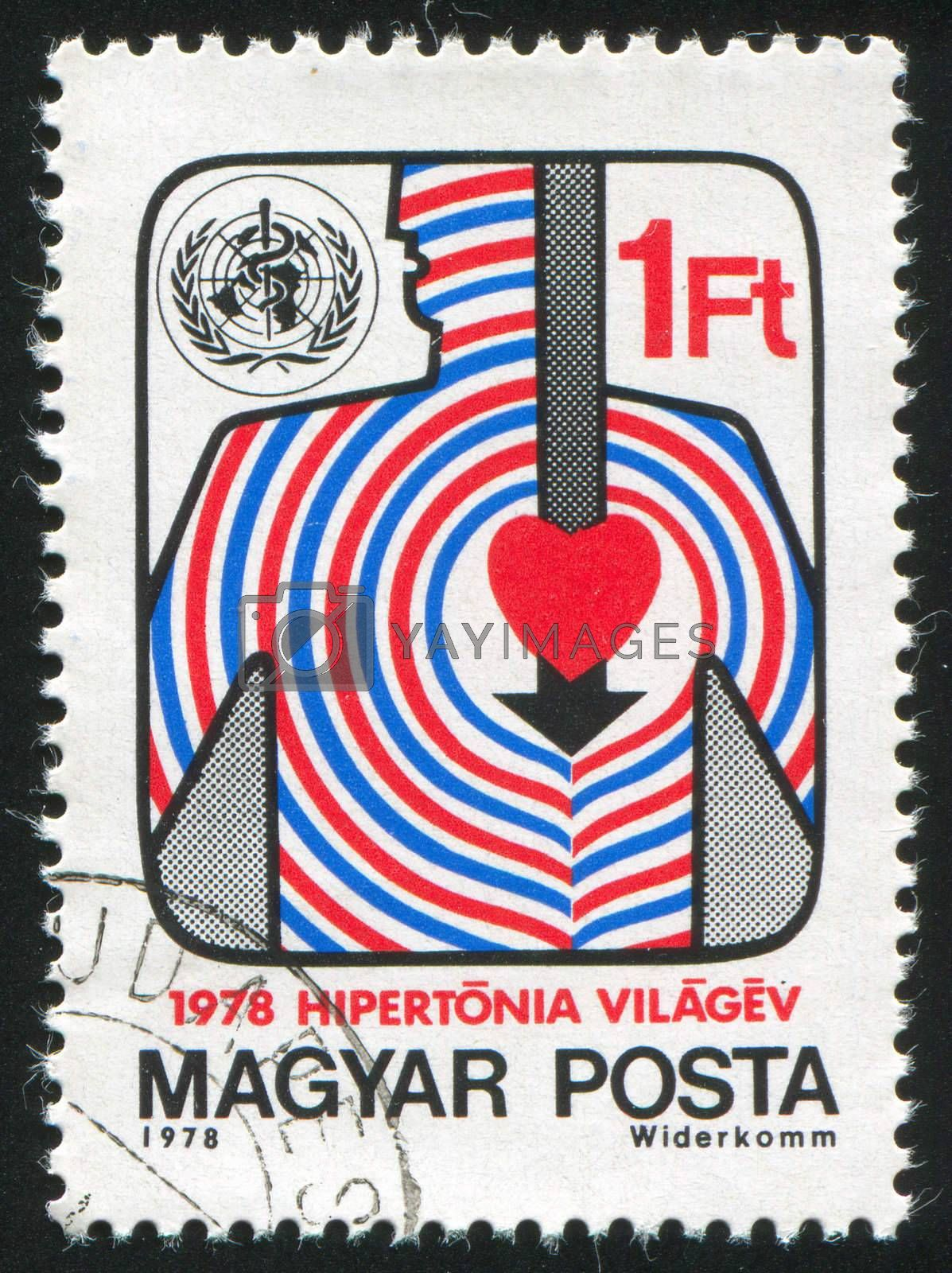 HUNGARY - CIRCA 1978: stamp printed by Hungary, shows WHO Emblem, Stylized Body and Heart, circa 1978