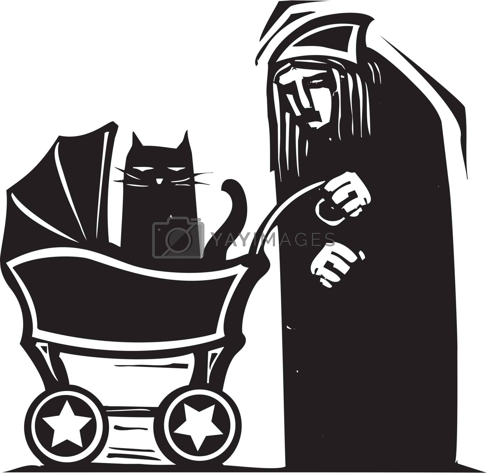 Lonely Old woman pushing a cat around in a baby carriage