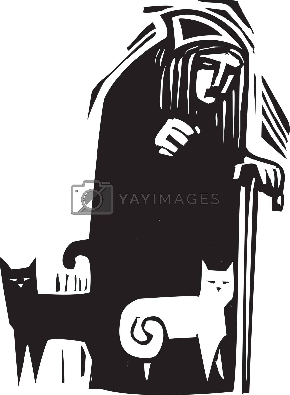 Woodcut style image of an old woman with black and white cats