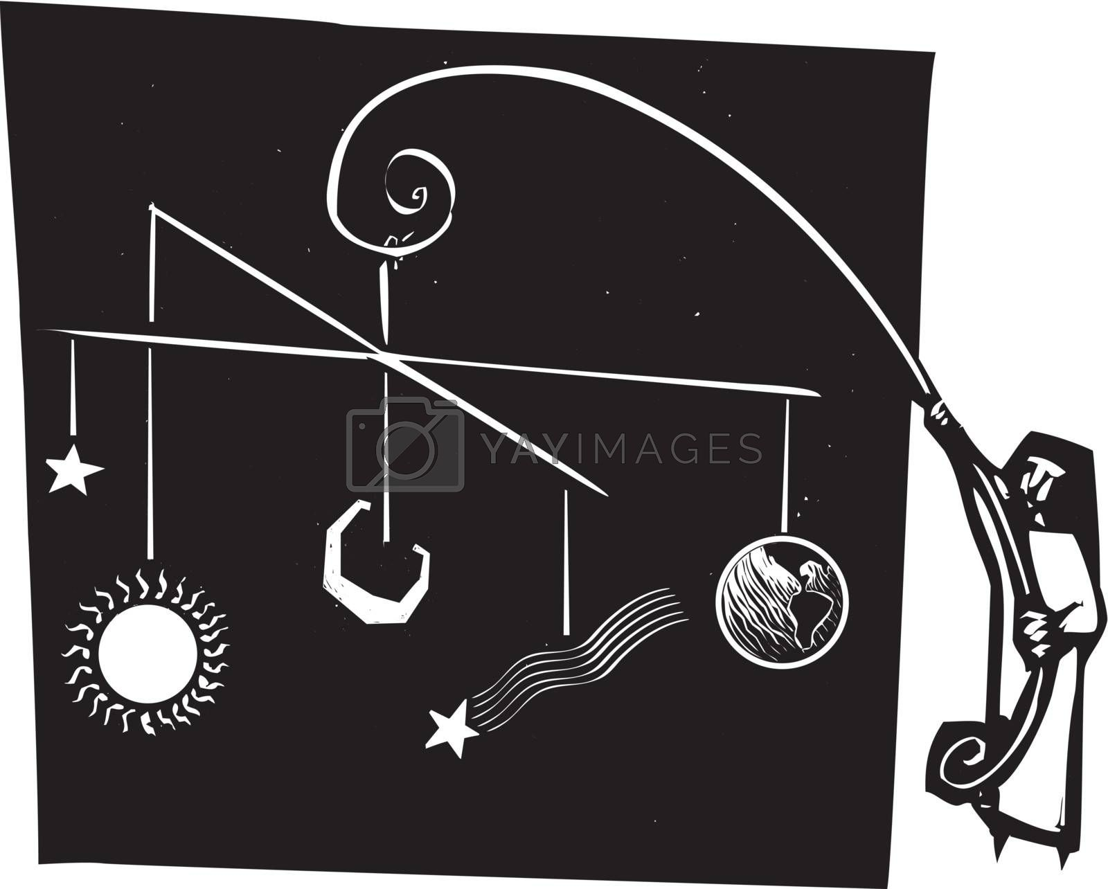 Woodcut style of a nun holding up a mobile of the solar system