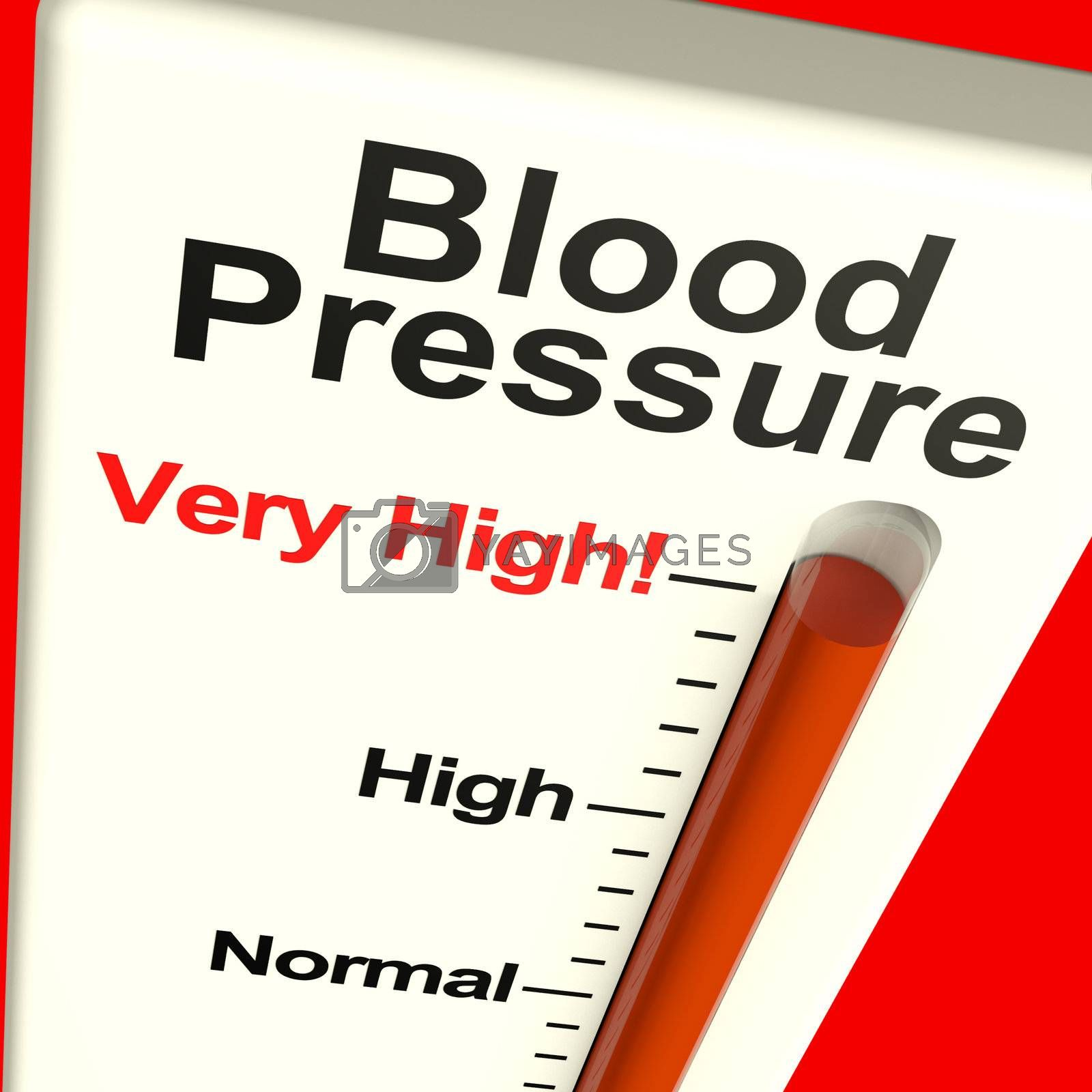 High Blood Pressure Showing Hypertension And Lots Of Stress