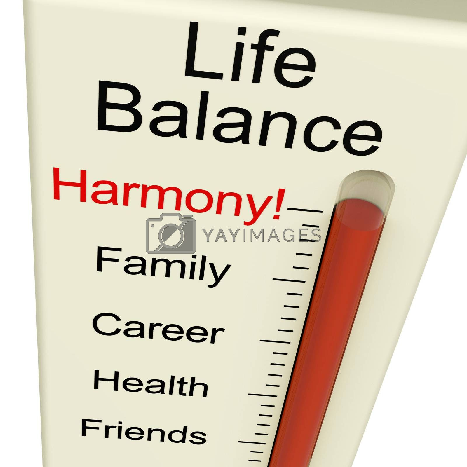 Life Balance Harmony Meter Shows Lifestyle And Jobs Desire