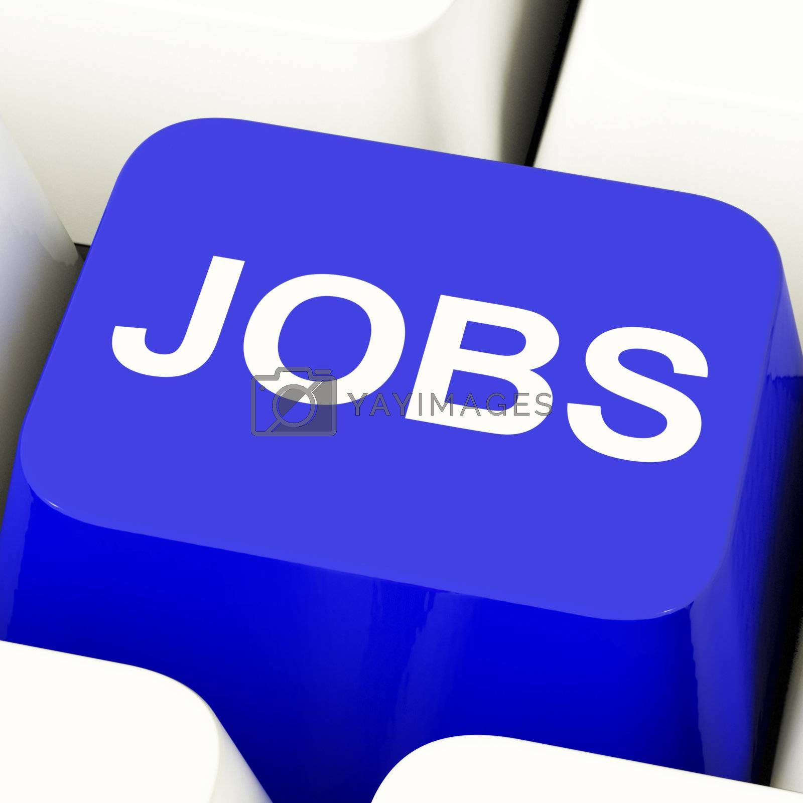 Jobs Computer Key In Blue Showing Work And Career