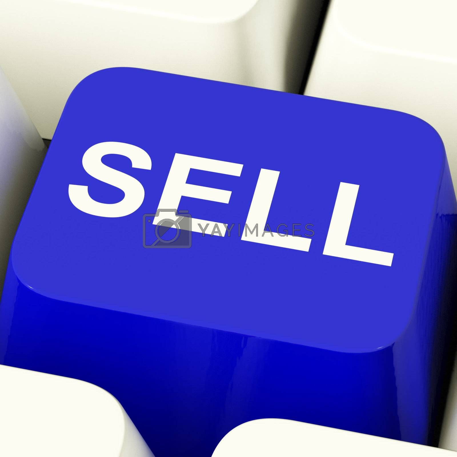 Sell Computer Key In Blue Showing Sales And Business Opportunities