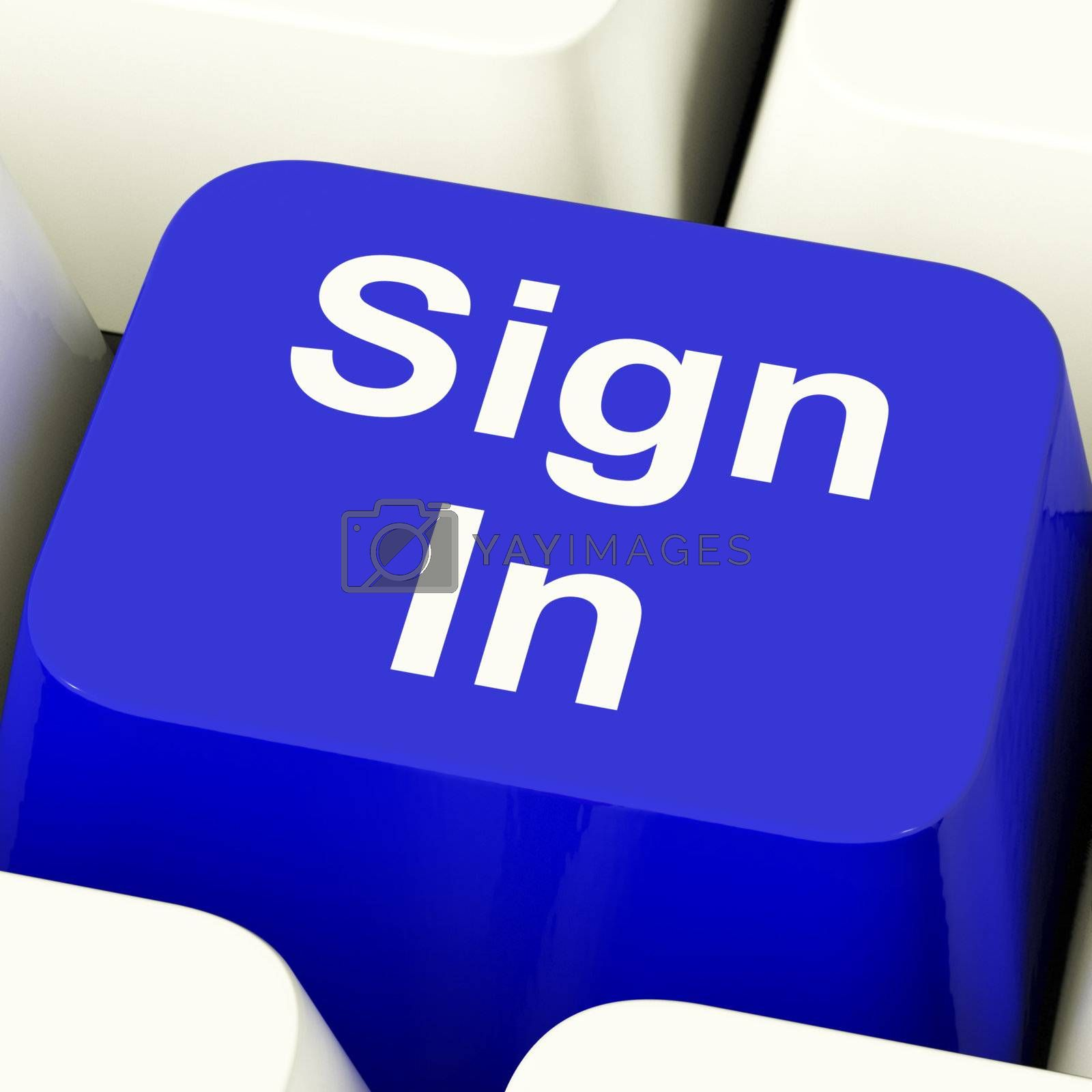 Sign In Computer Key In Blue Showing Internet Login