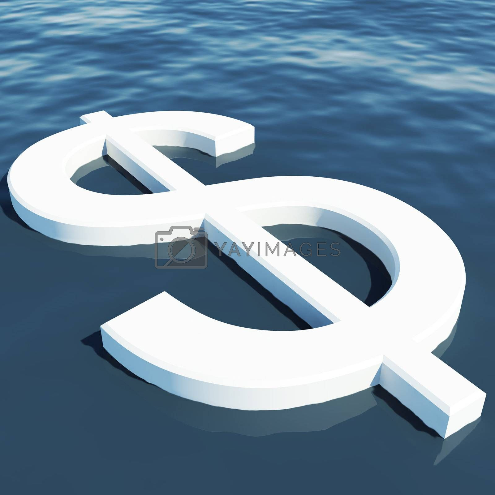 Dollar Floating Showing Money Wealth Or Earning