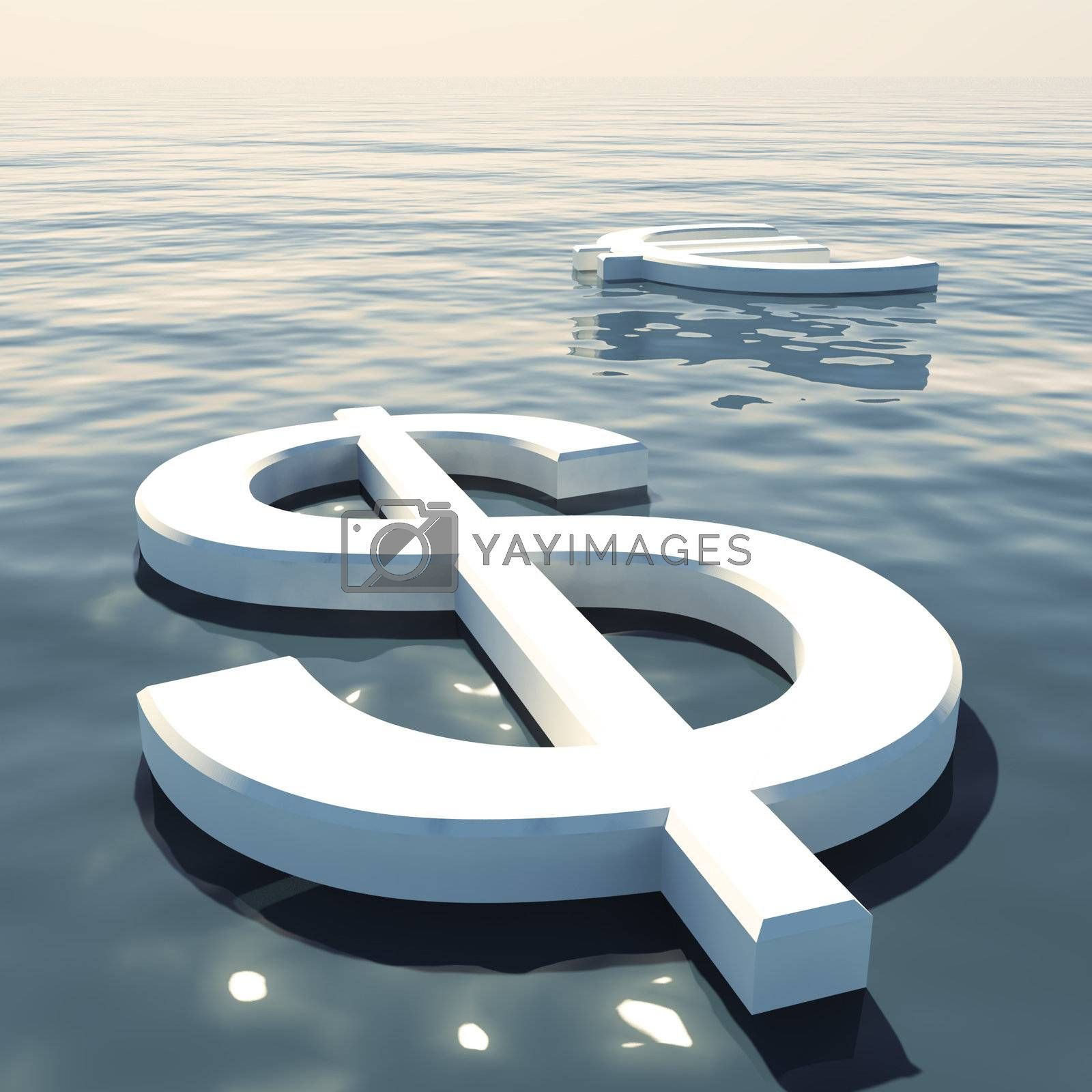 Dollar Floating And Euro Going Away Showing Money Exchanges Or Forex