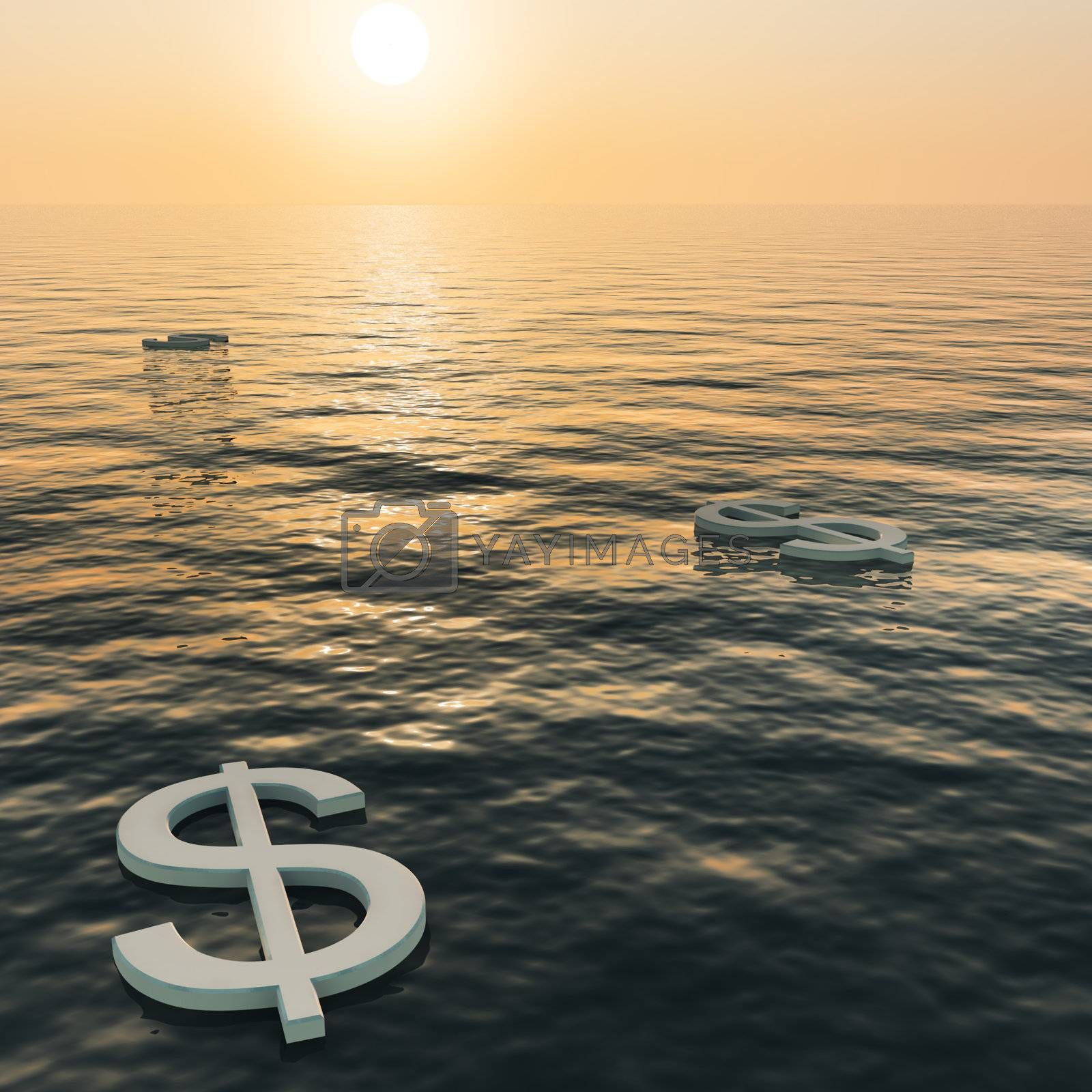 Dollars Floating To A Sunset Showing Money Wealth Or Earning