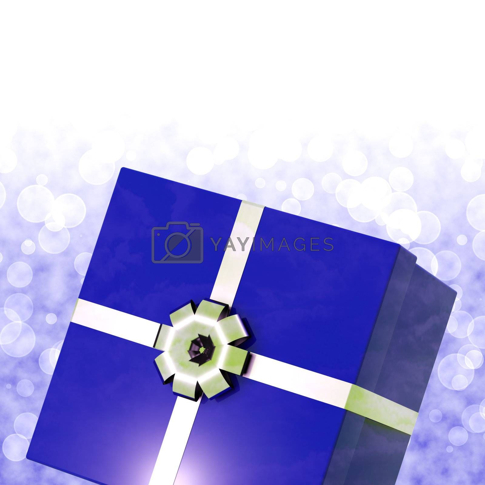 Blue Giftbox With Bokeh Background For Mens Birthdays