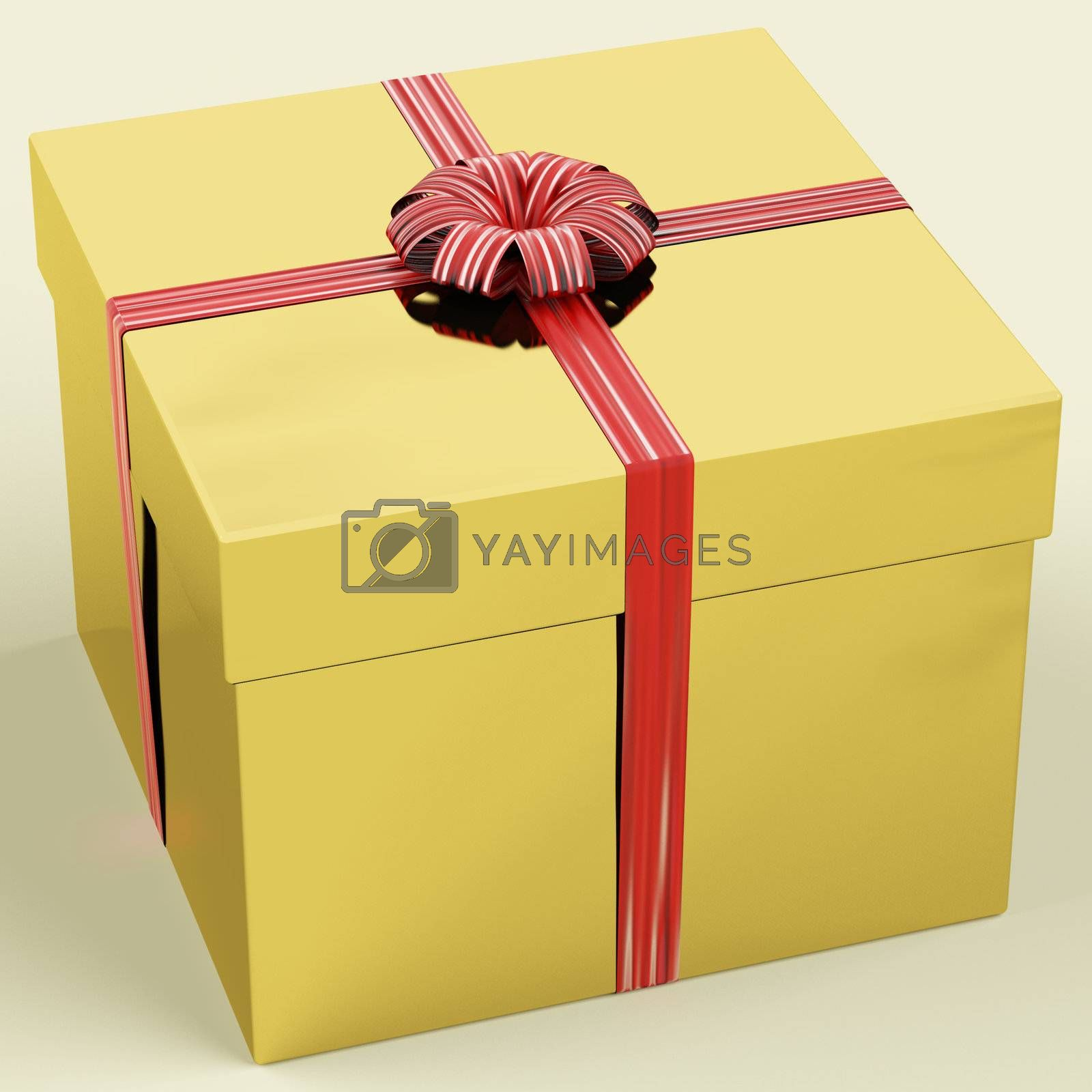 Gold Gift Box With Ribbon As Birthday Presents