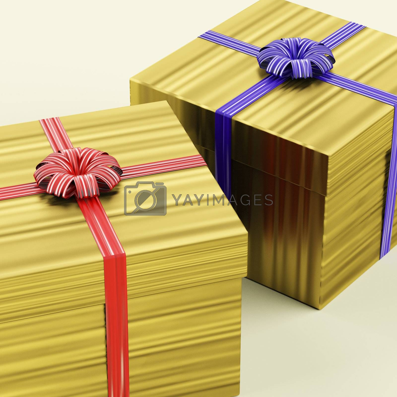 Gold Gift Boxes With Ribbon As Birthday Presents