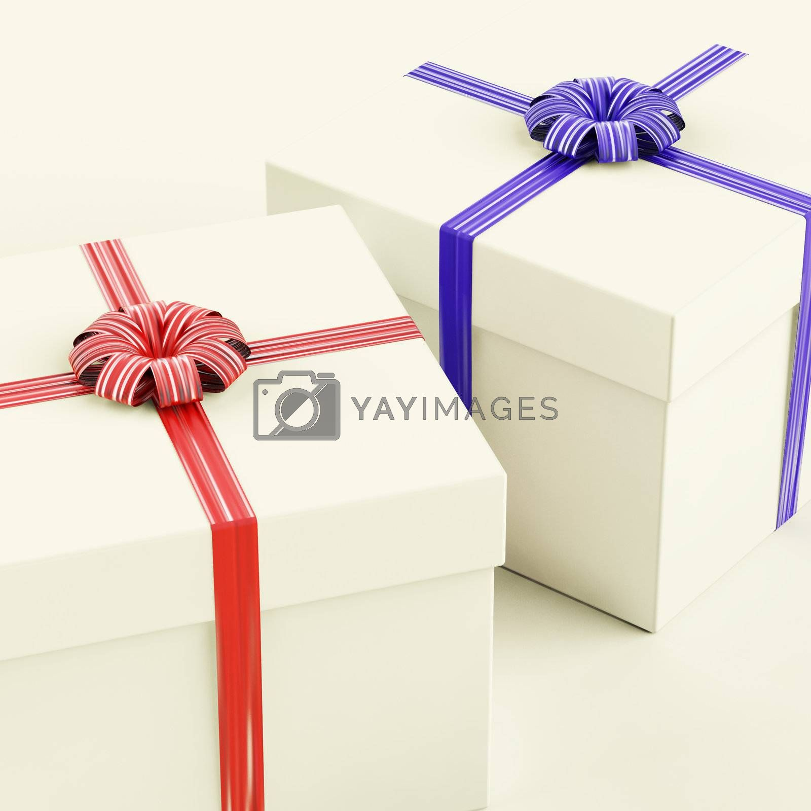 Gift Boxes With Blue And Red Ribbons As Present For Him And Her