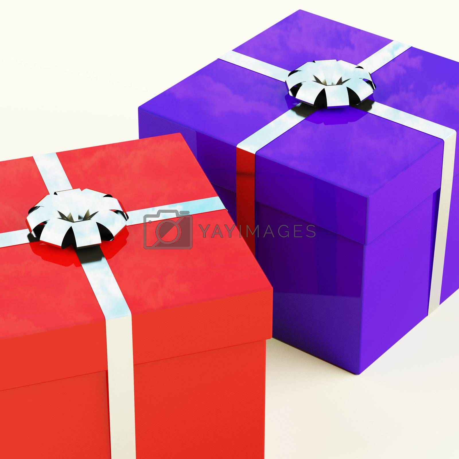 Red And Blue Gift Boxes With Silver Ribbons As Present For Him And Her