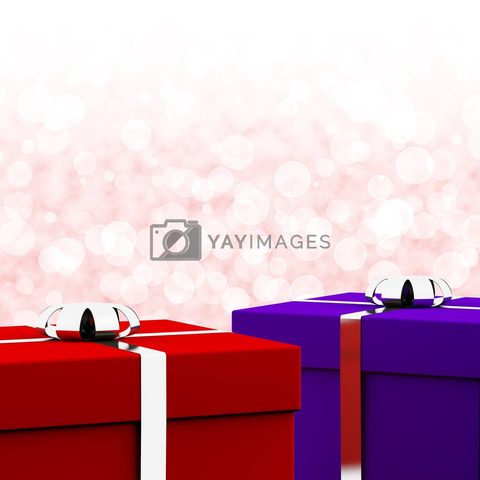 Red And Blue Gift Boxes With Bokeh Background As Present For Him And Her