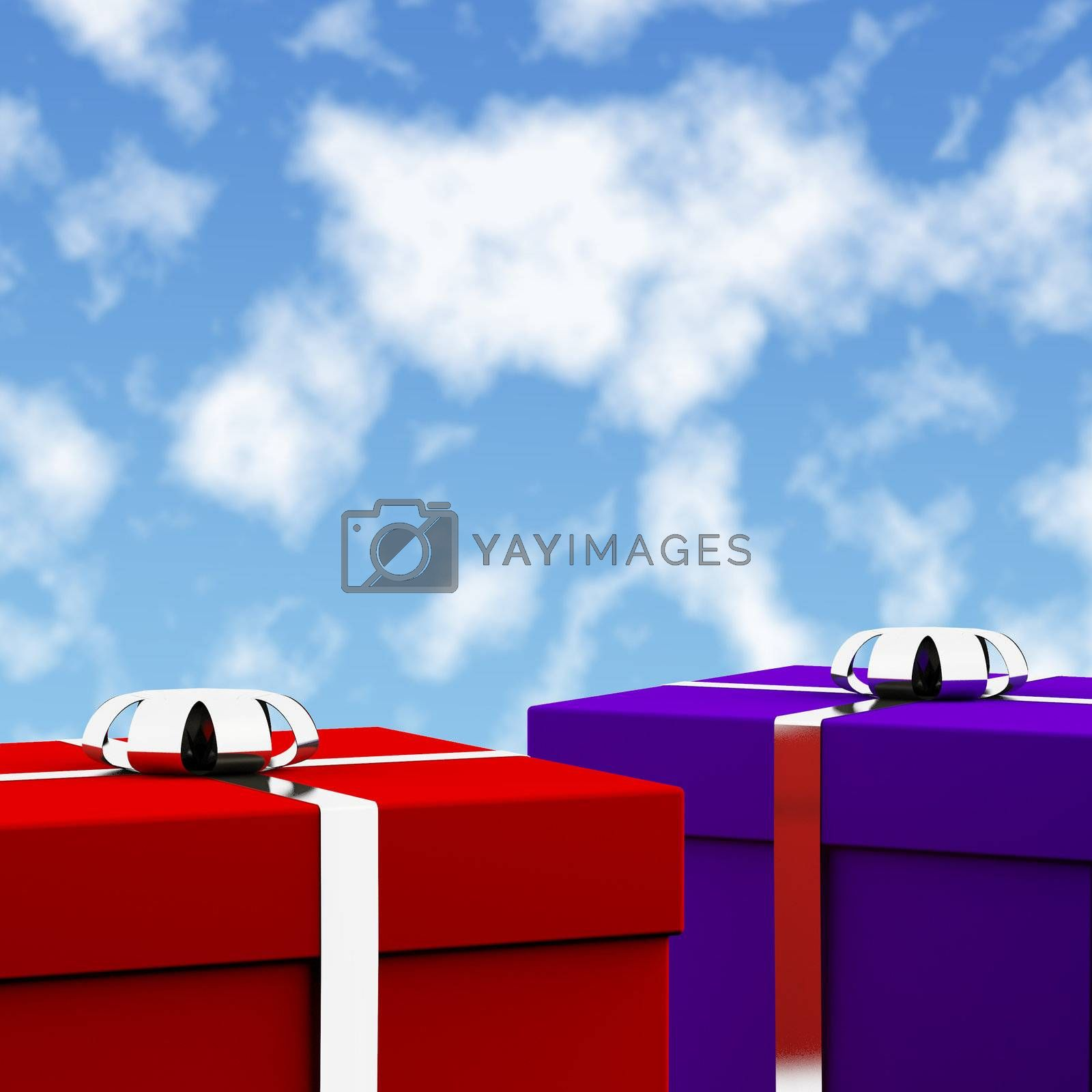 Red And Blue Gift Boxes With Sky Background As Present For Him And Her