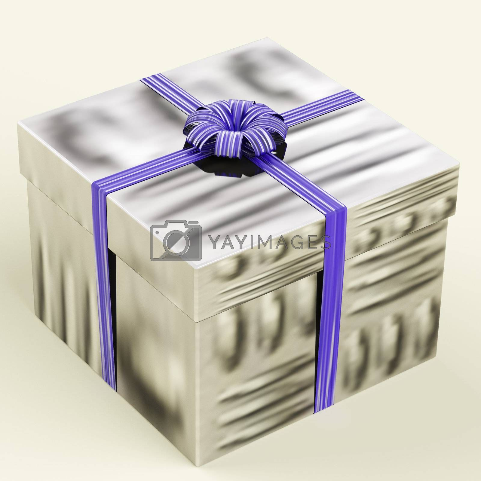 Silver Gift Box With Blue Ribbon As Birthday Present For Men