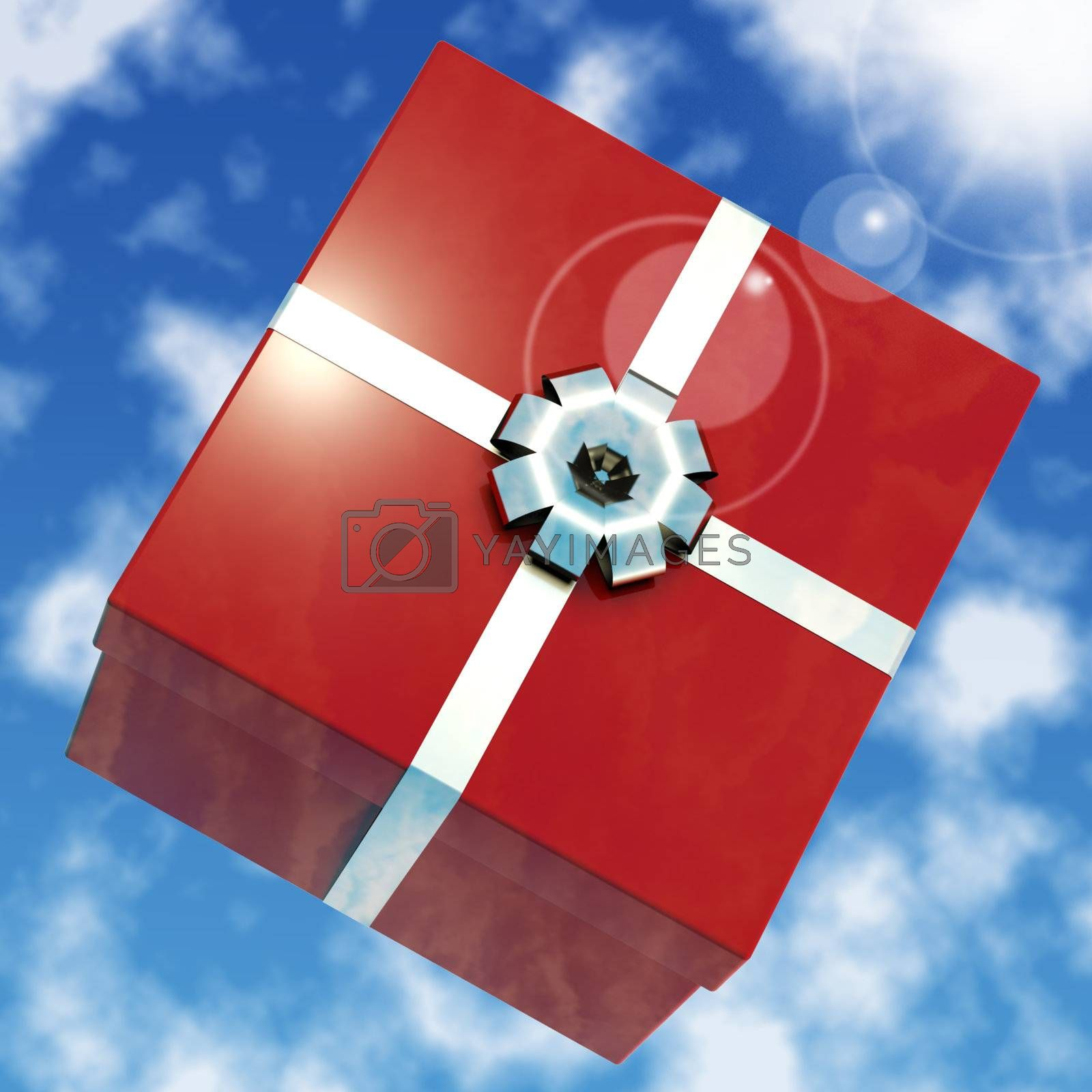 Red Giftbox With Sky Background For Girls Birthdays