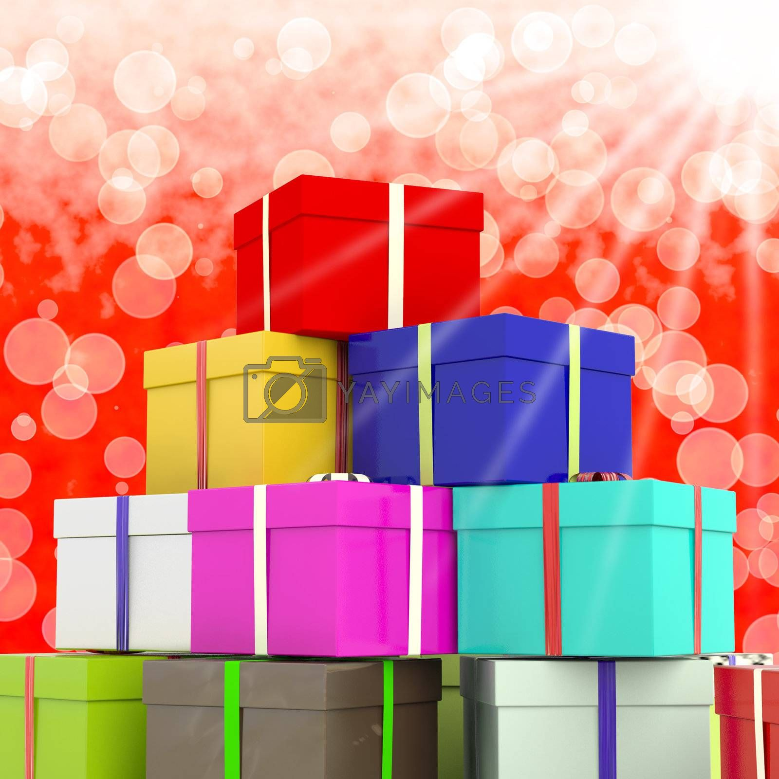Multicolored Giftboxes  With Bokeh Background As Presents For Th by stuartmiles