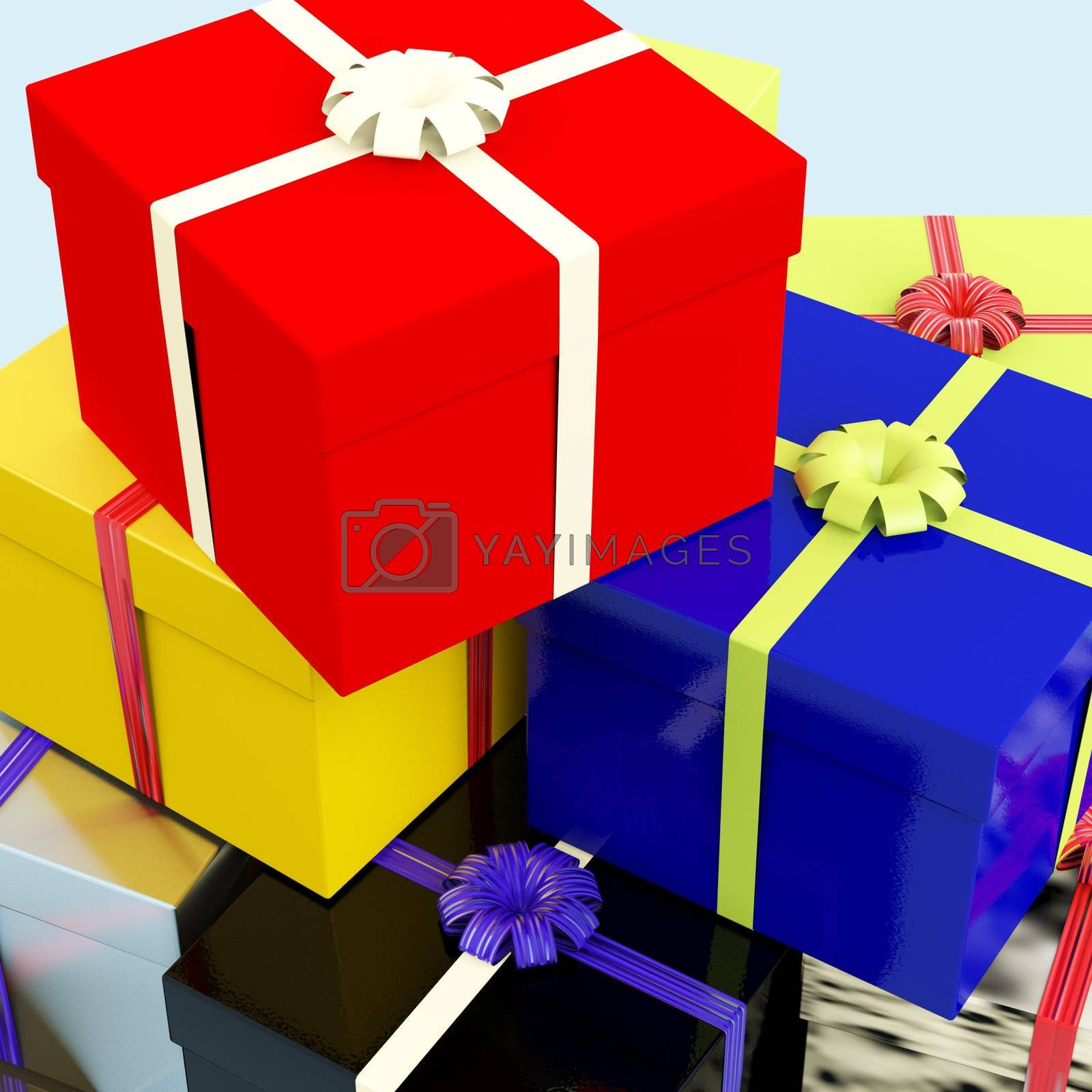 Multicolored Giftboxes   As Presents For Family Or Friends