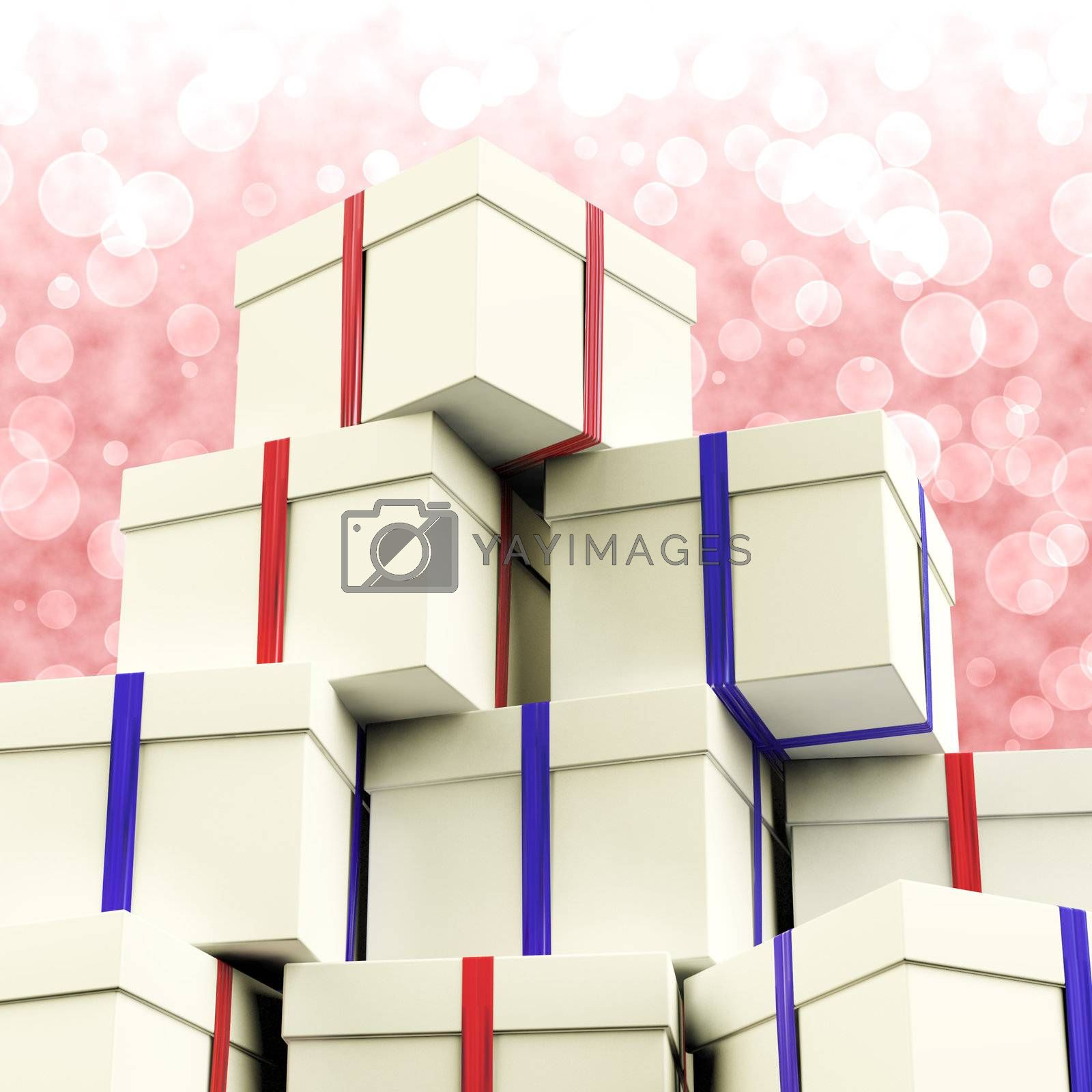 Stack Of Giftboxes With Bokeh Background As Presents For Family