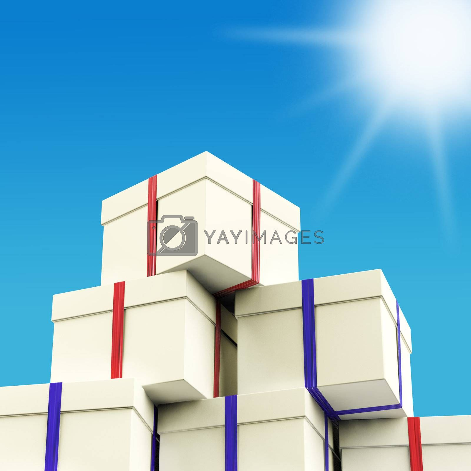 Stack Of Giftboxes With Sun And Sky Background As Presents For Family