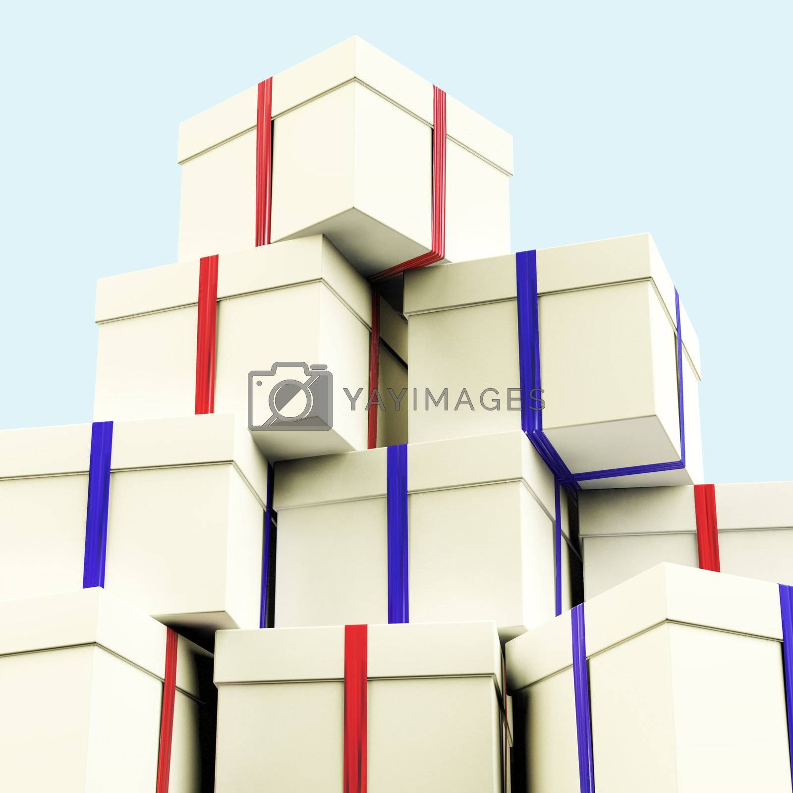 Stack Of Giftboxes With Sky Background As Presents For The Famil by stuartmiles