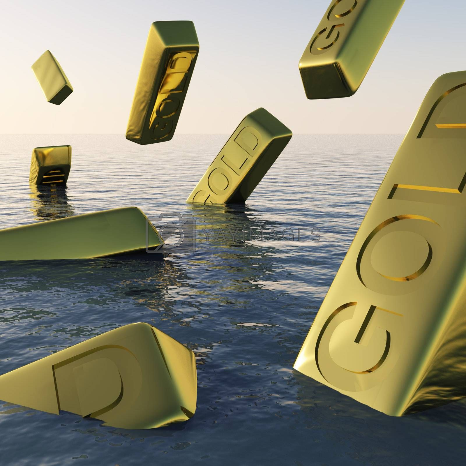 Gold Bars Sinking  Showing Depression Recession And Economic Downturns
