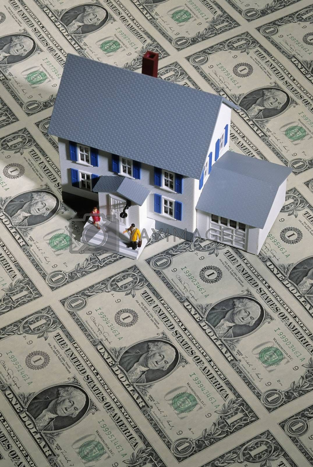Royalty free image of Toy house on money by edbockstock