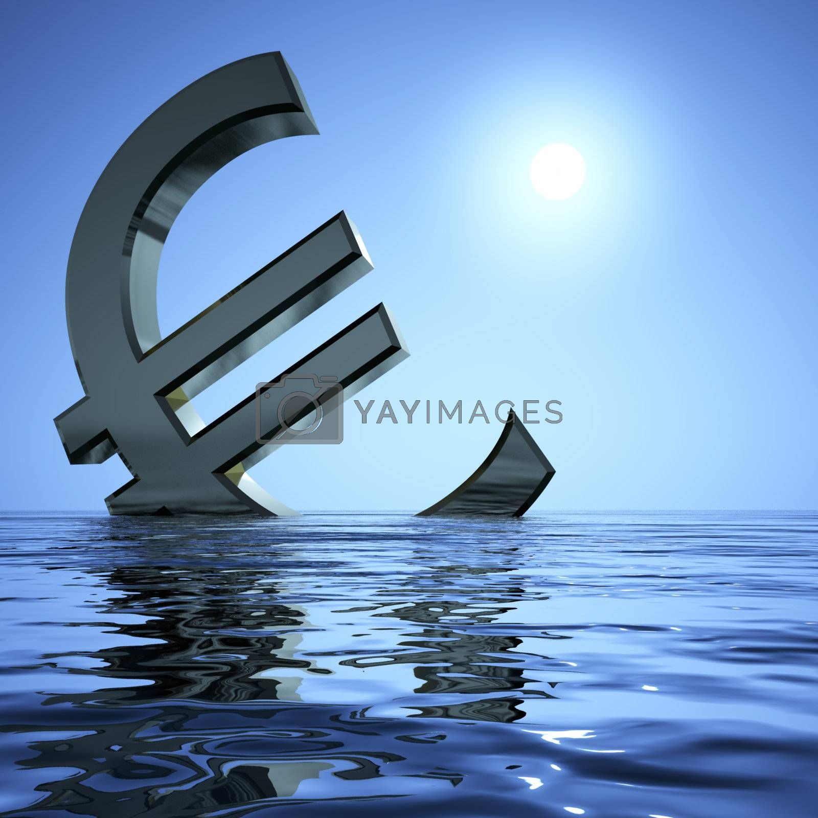 Euro Sinking In The Sea Showing Depression Recession And Economi by stuartmiles