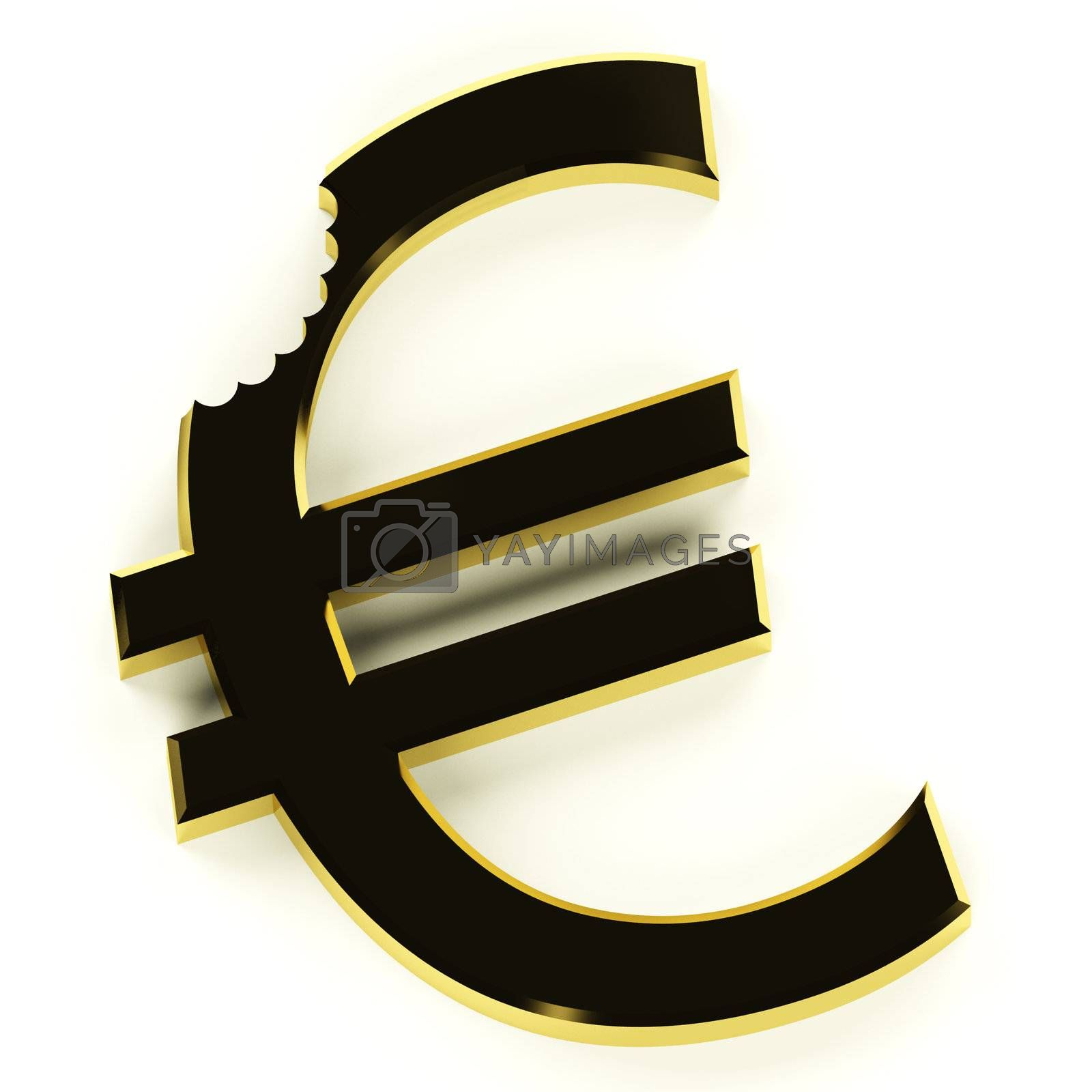 Euro With Bite Showing Devaluation Economic Crisis And Recessions