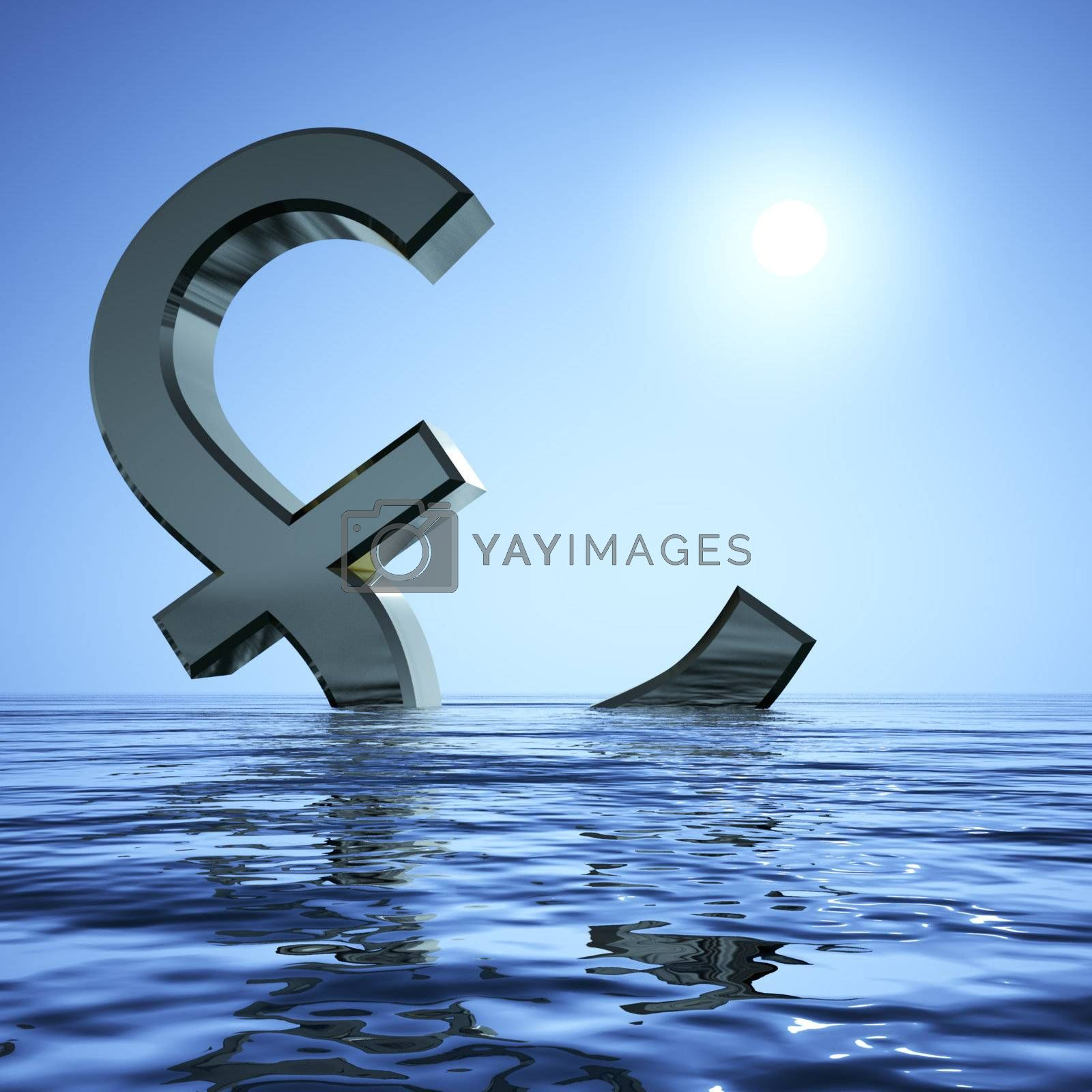 Pound Sinking In The Sea Showing Depression Recession And Econom by stuartmiles