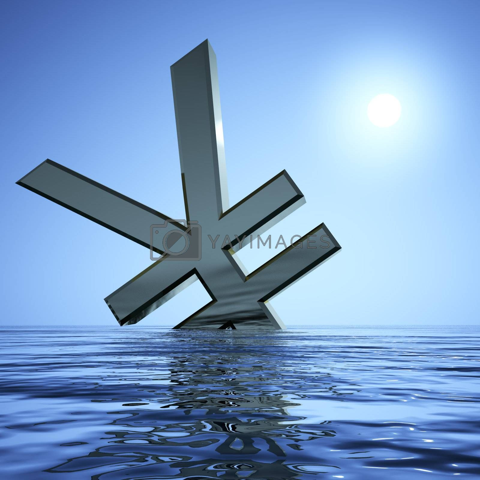 Yen Sinking In The Sea  Showing Depression Recession And Economic Downturns