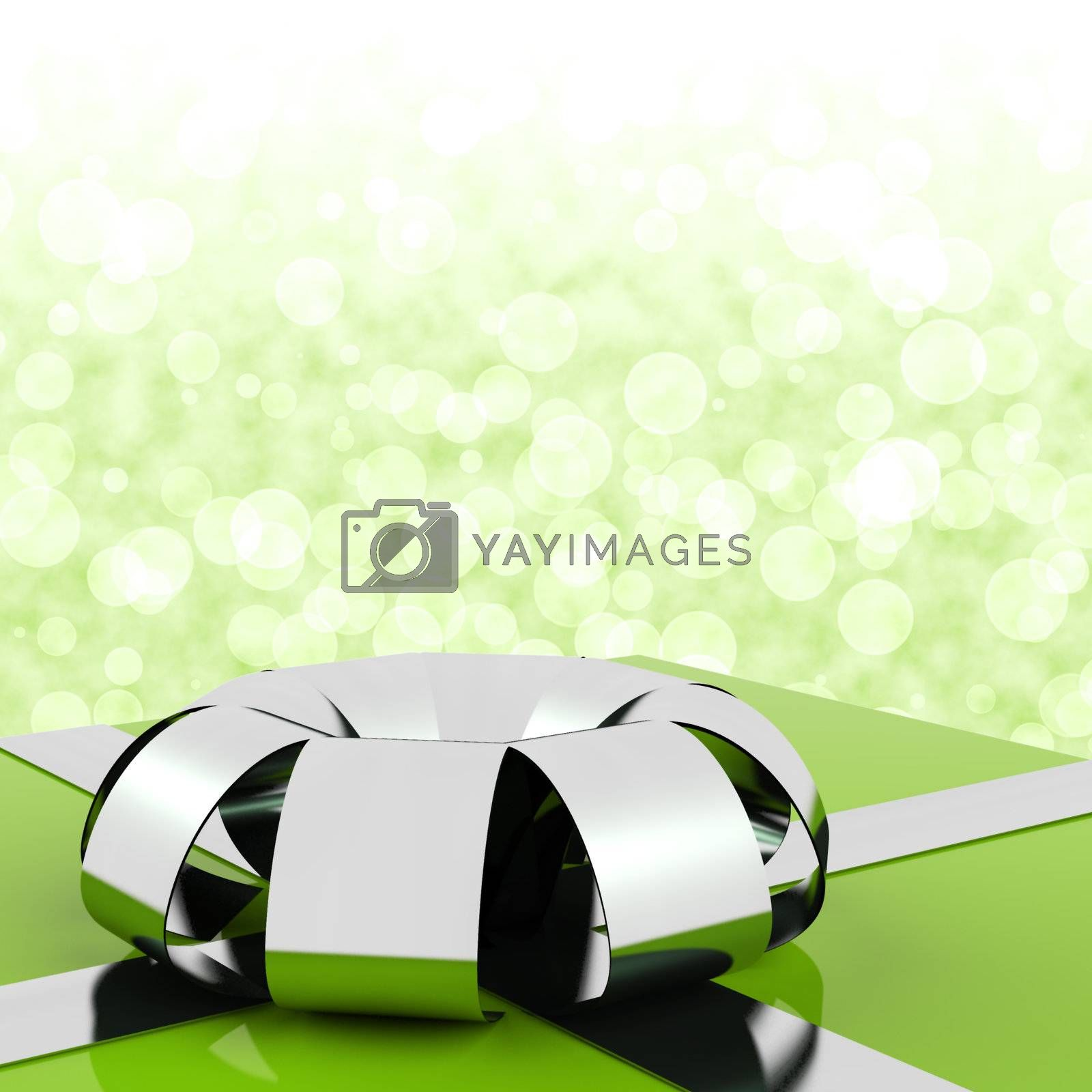 Green Giftbox With Bokeh Background For Mans Birthday