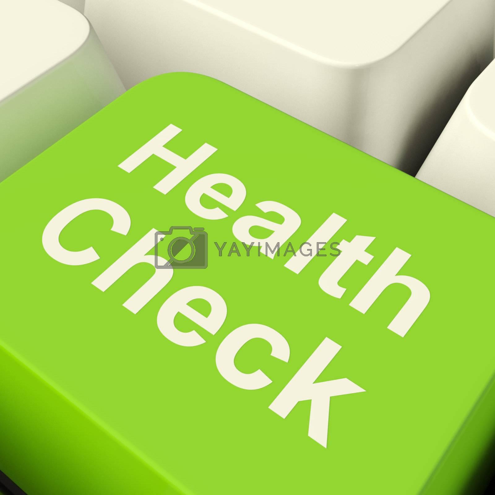Health Check Computer Key In Green Showing Medical Examinations