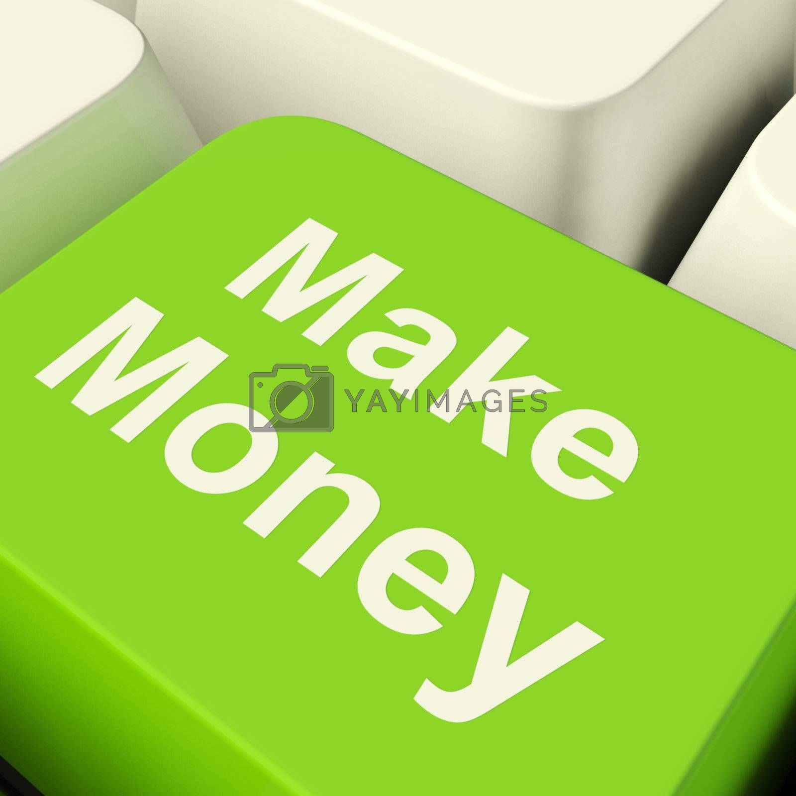Make Money Computer Key In Green Showing Startup Business And We by stuartmiles