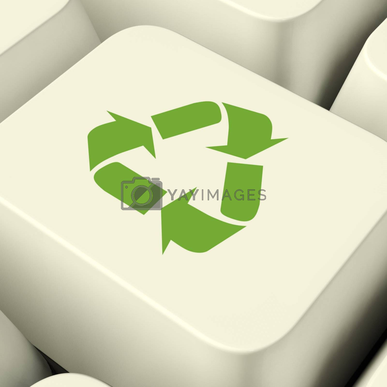 Recycle Icon Computer Key In Green Showing Recycling And Eco Fri by stuartmiles