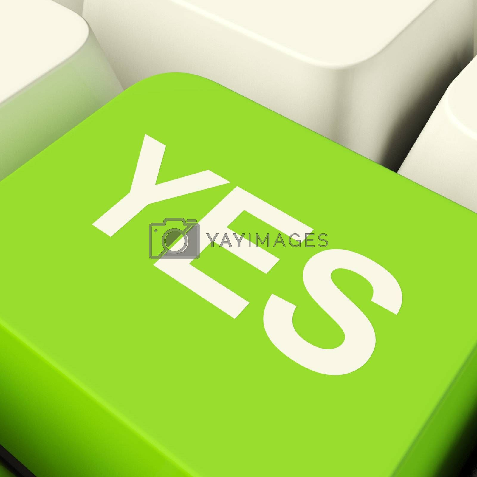 Yes Computer Key Green Showing Approval And Support