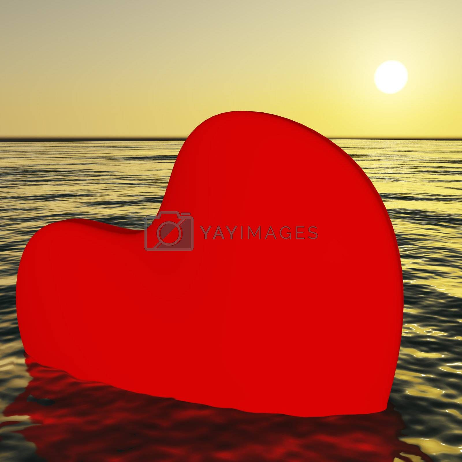 Heart Sinking Showing Loss Of Love And Broken Hearts
