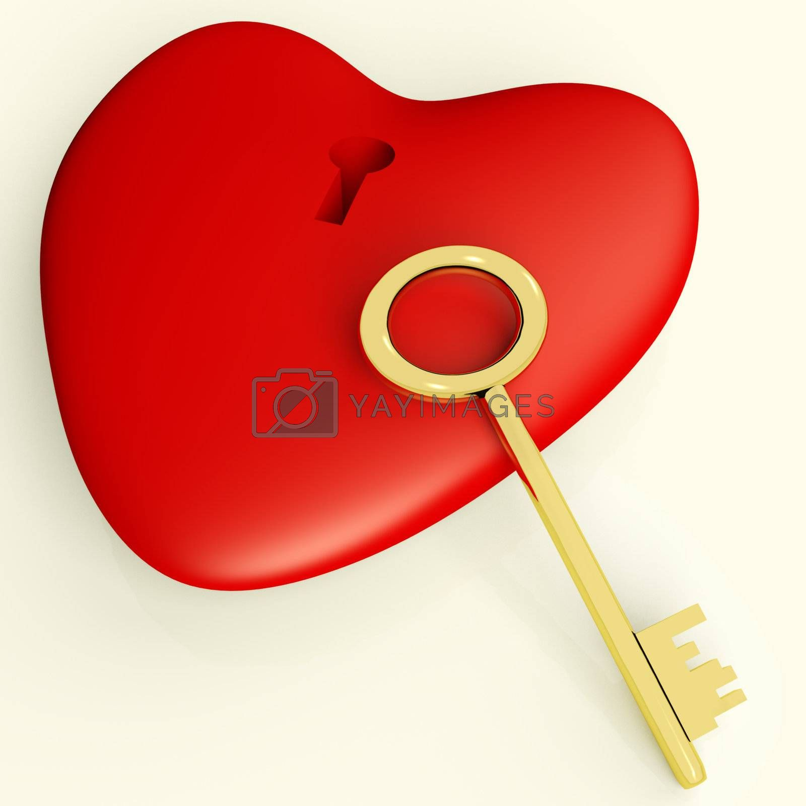 Heart With Key Showing Love Romance And Valentine