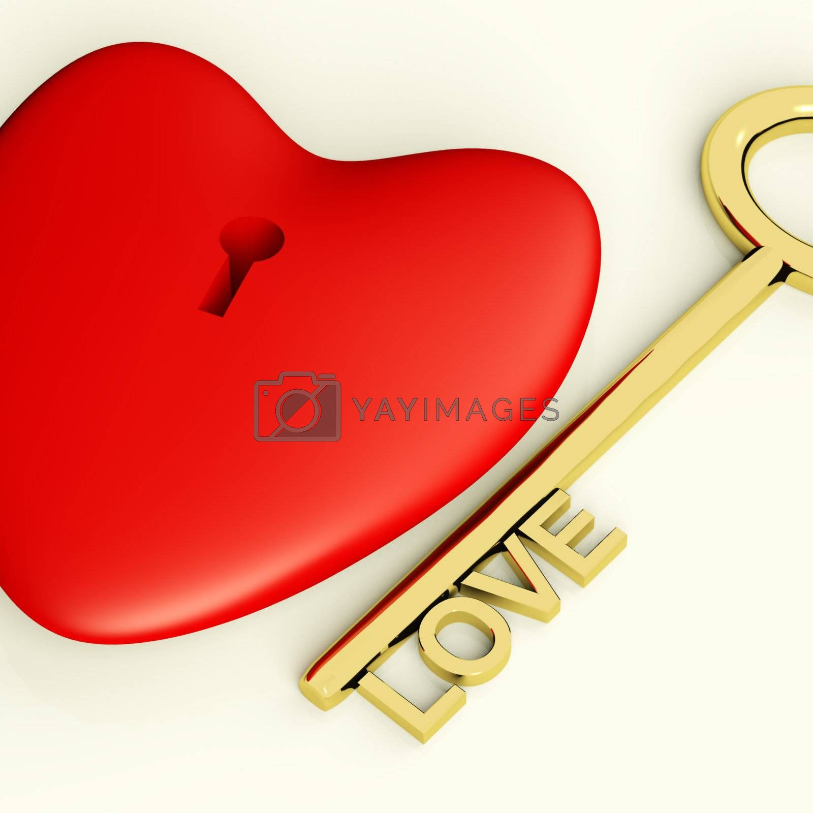 Heart With Key Closeup Showing Love Romance And Valentine